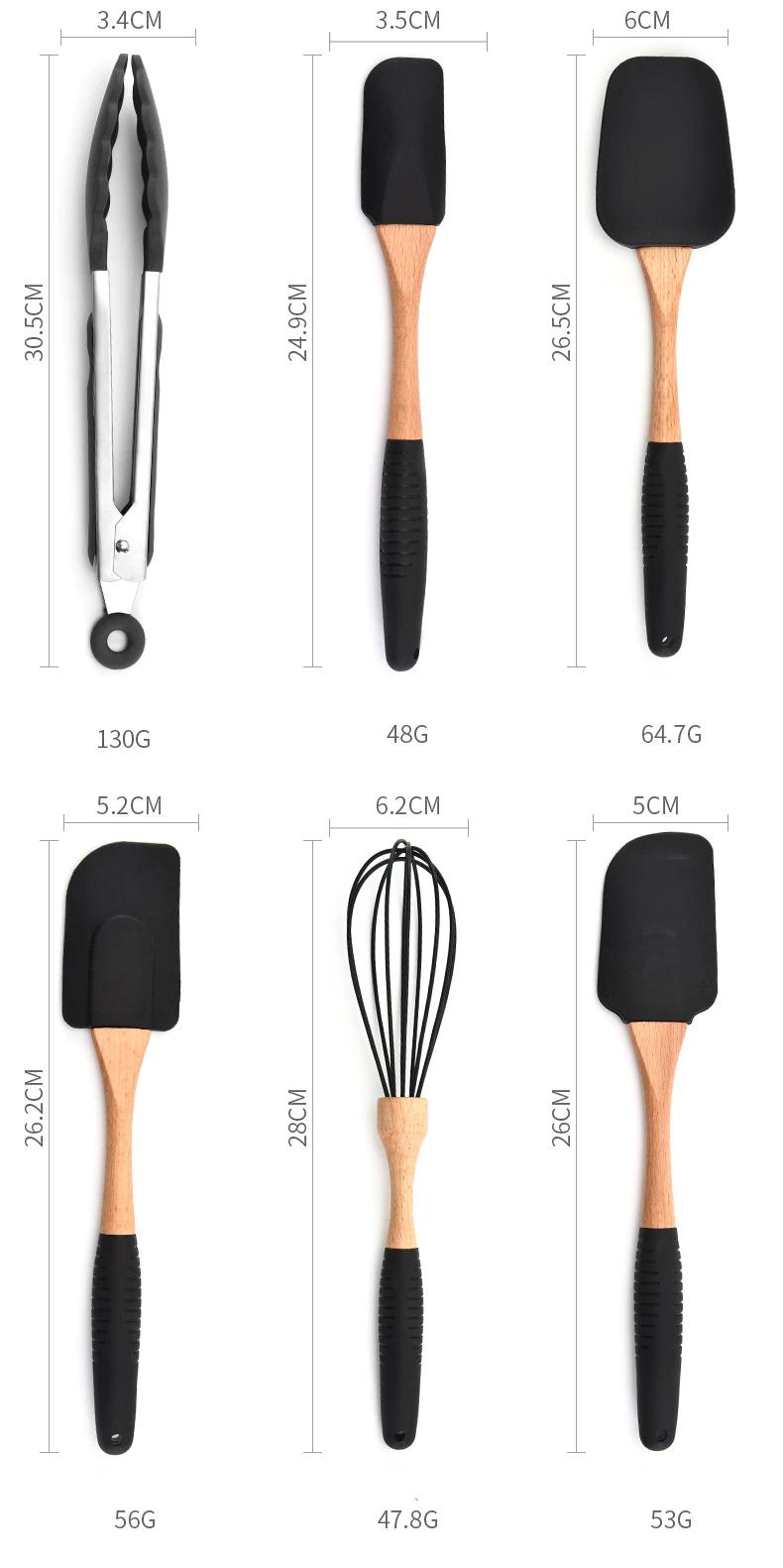 Wooden Handle Silicone Kitchenware Set