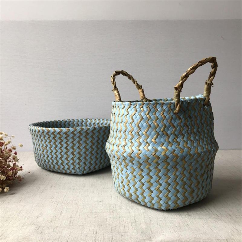 Foldable Handmade Woven Storage Basket for Gardening