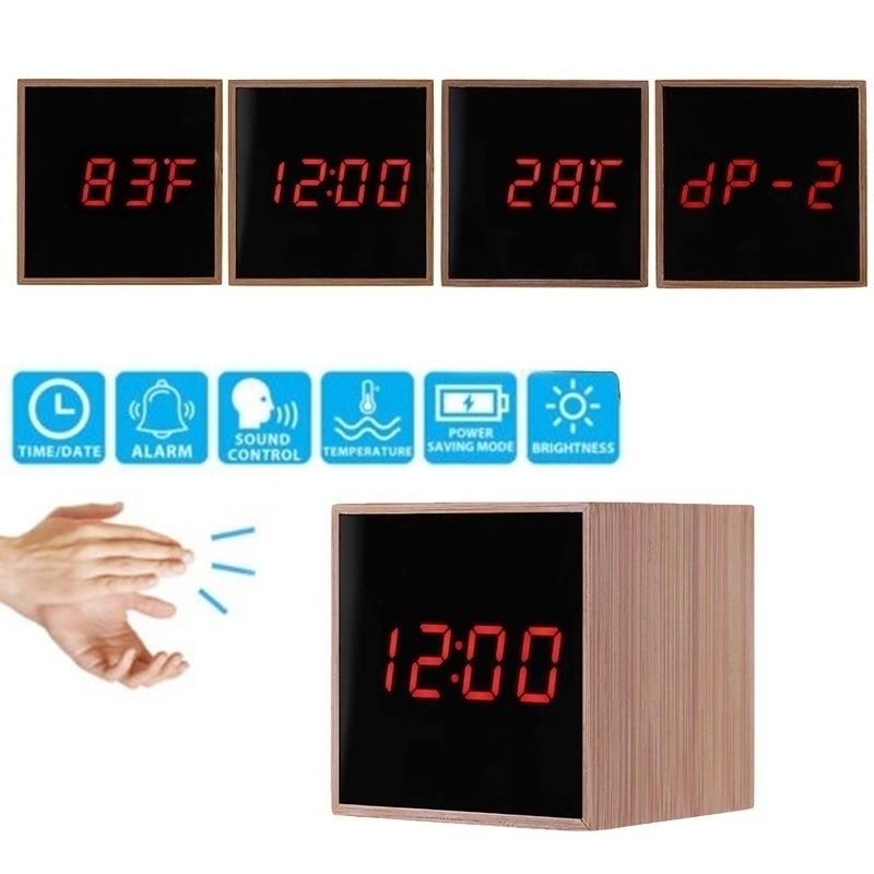 Bamboo LED Digital Alarm Clocks